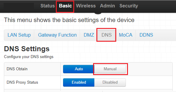 Switch to Manual DNS Settings
