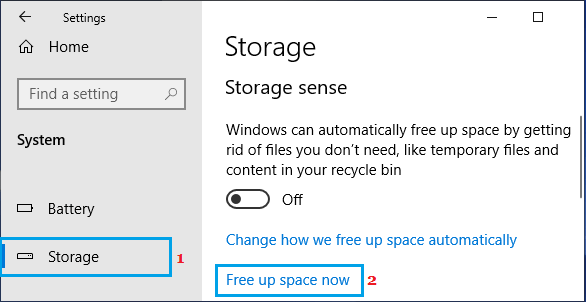 Manually Free Up Storage Space Using Storage Sense
