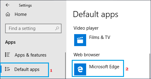 Default Web Browser Settings Option in Windows 10
