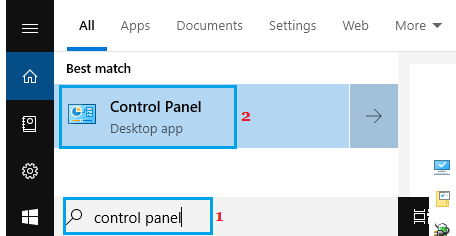 Open Control Panel in Windows 10