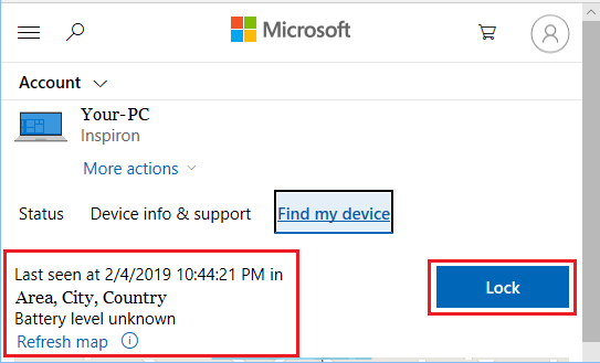 Find My Device Option in Microsoft Account