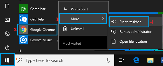 Pin Google Chrome to Windows 10 Taskbar