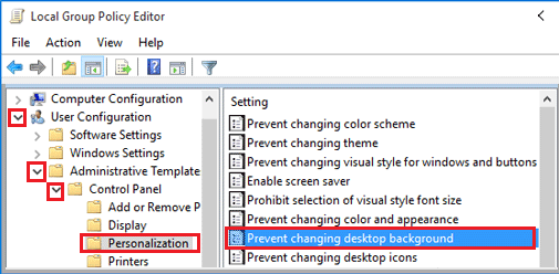 Prevent Changing Desktop Background in Windows Group Policy