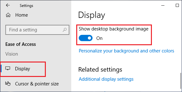 Show Desktop Image option in Windows Ease of Access Settings
