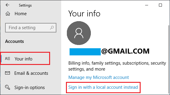Sign in with a local account option in Windows 10