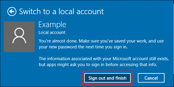Switch to Local User Account in Windows 10