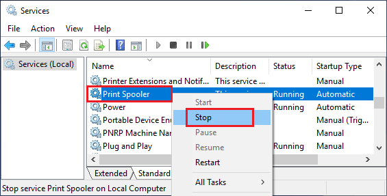 Stop Print Spooler Service on Windows Computer