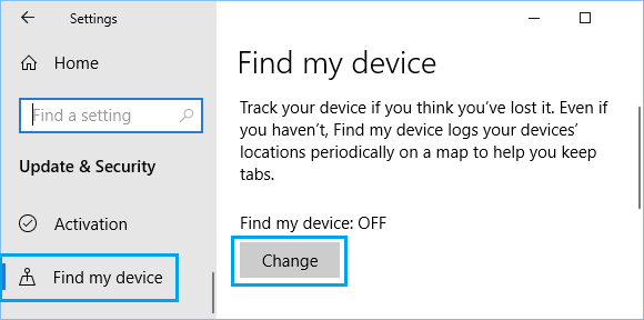 Find My Device Option in Windows 10