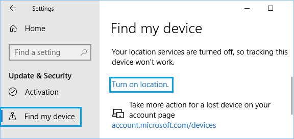 Turn On Location Tracking in Windows 10