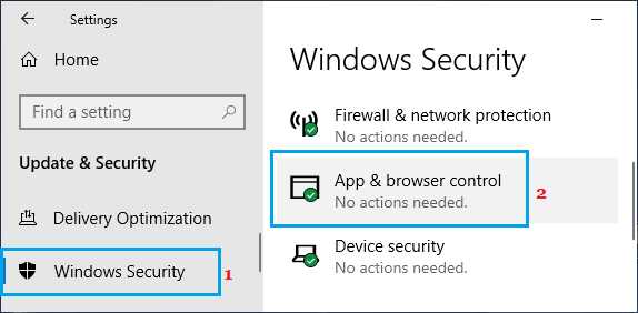 Windows Security App & Browser Control Option