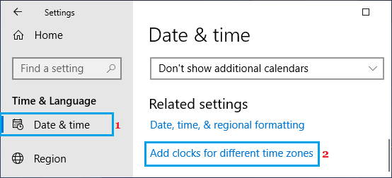 Add Clocks for different time zones option in Windows