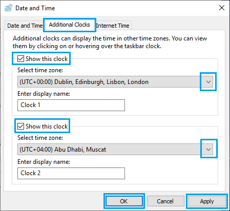 Add Additional Clocks Option in Windows 10