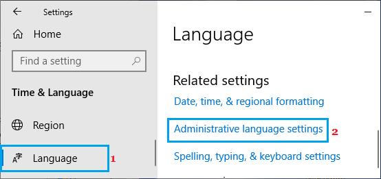 Administrative Language Settings Option in Windows
