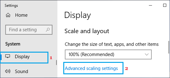 Advanced Scaling Settings Option on Windows PC