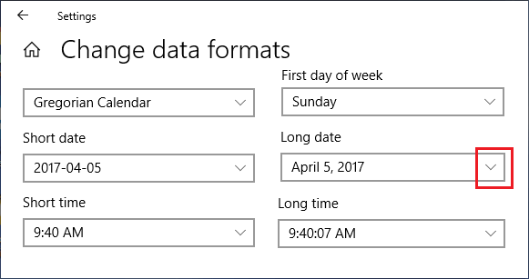 Change Date and Time Format Screen in Windows 10
