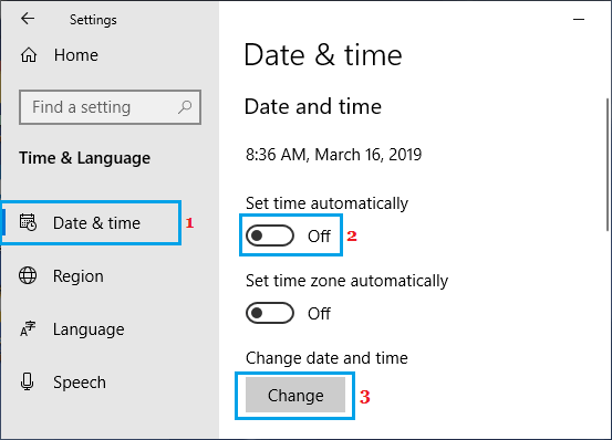 Manually Change Date and Time Option in Windows 10