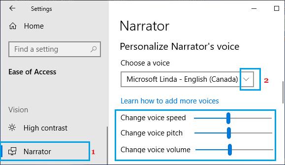 Change Narrator Voice in Windows 10