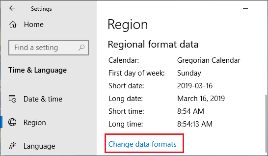 Change Data Formats option on Windows Time & Language screen