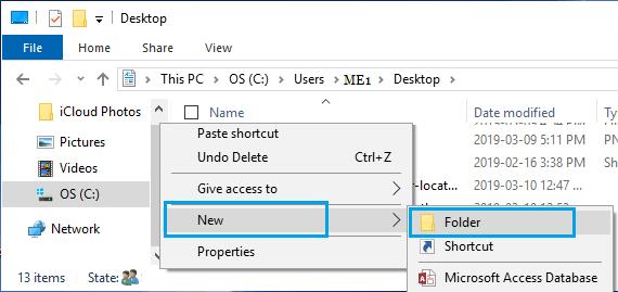 Create New Folder in Desktop User Folder