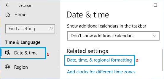 Date, time and regional formatting option on Windows PC
