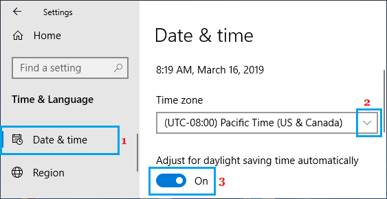 Set Time Zone in Windows 10