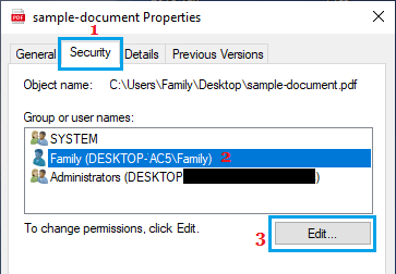 Edit File Security Permissions Option