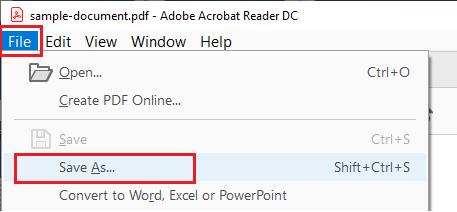 Save As Option in Adobe Acrobat