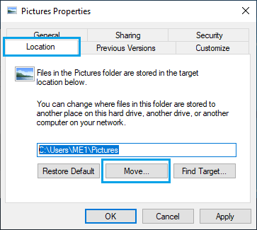 Move Option on Picture Folder Properties Screen