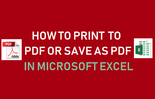 Print to PDF or Save As PDF in Microsoft Excel