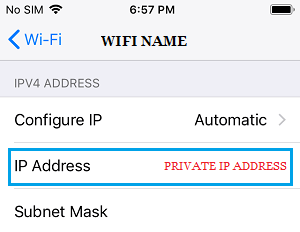Private IP Address on iPhone