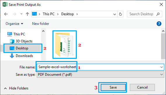 Save Printed File As PDF in Microsoft Excel