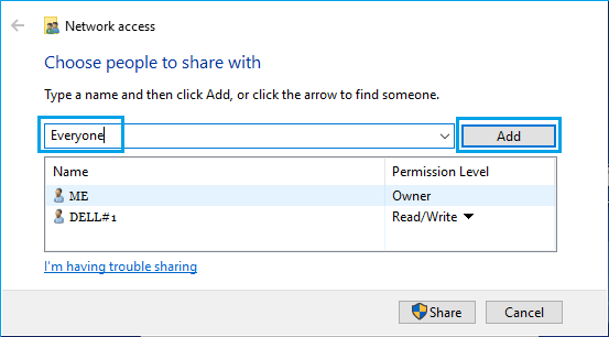 Add User For File Sharing on Windows Computer