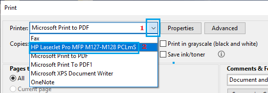 Select Printer Option on Adobe Acrobat Print Screen
