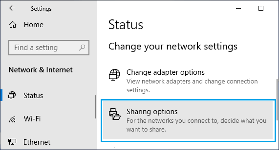 Sharing Options Tab on Windows Settings Screen