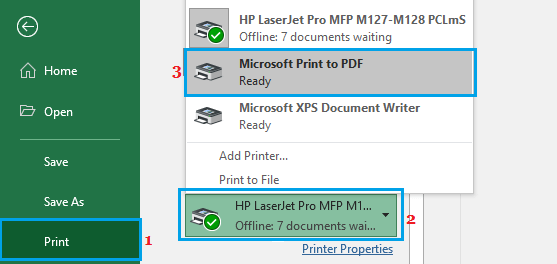Switch to PDF Printer in Microsoft Excel