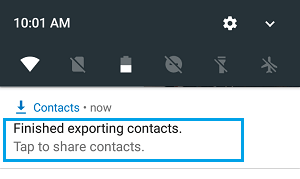 Downloaded Contacts File Notification on Android phone