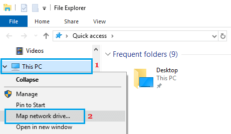 Map Network Drive Option in Windows 10
