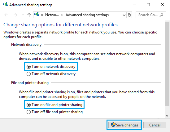 Turn ON Network Discovery, File and Printer Sharing