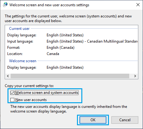 Welcome and New User Accounts Settings Screen