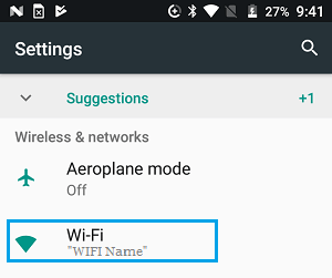 WiFi Option on Android Phone