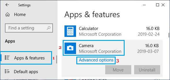 Windows Camera App Advanced Options