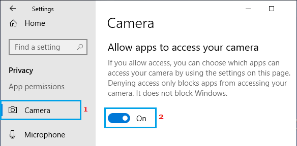 Allow Apps to Access Windows Camera