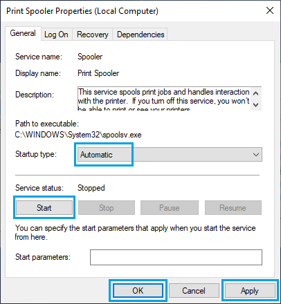 Set Print Spooler Service to Start Automatically