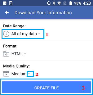 Select Photo Quality and Create Download File