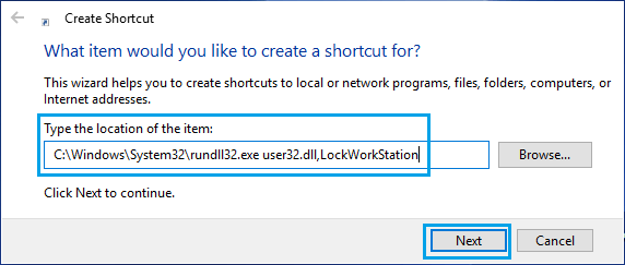Create Shortcut to Lock Screen in Windows 10