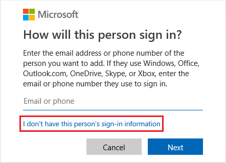 Create Windows User Account Without Email Address