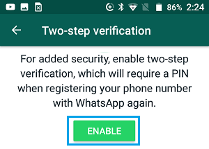 Enable Two-Step Verification in WhatsApp