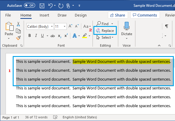 Replace Option in Microsoft Word