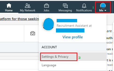 Privacy and Settings option on LinkedIn