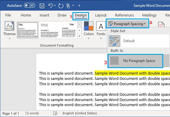 Paragraph Spacing Menu in Microsoft Word